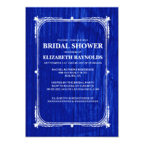 Navy Blue Western Barn Wood Bridal Shower Invites