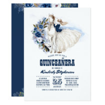Navy Blue Western Quinceañera - 15th Birthday Invitation