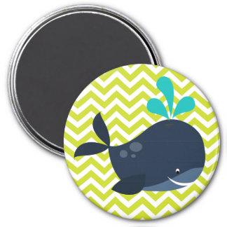 Navy Blue Whale on Green Chevron Stripe Pattern 3 Inch Round Magnet
