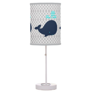 Navy Blue Whales on Gray Table Lamp
