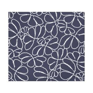 Navy Blue Whimsical Ikat Floral Doodle Pattern Canvas Print