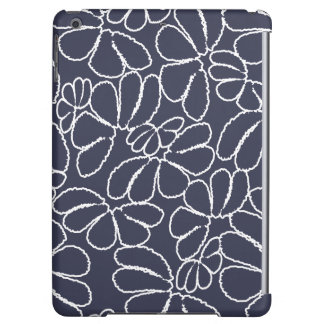 Navy Blue Whimsical Ikat Floral Doodle Pattern Case For iPad Air