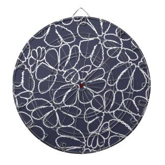 Navy Blue Whimsical Ikat Floral Doodle Pattern Dartboards
