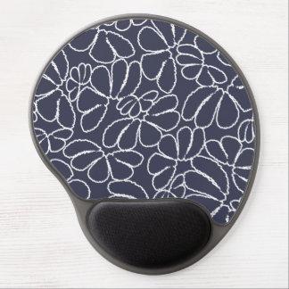 Navy Blue Whimsical Ikat Floral Doodle Pattern Gel Mouse Pad