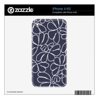 Navy Blue Whimsical Ikat Floral Doodle Pattern iPhone 4 Skins