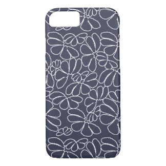Navy Blue Whimsical Ikat Floral Doodle Pattern iPhone 8/7 Case