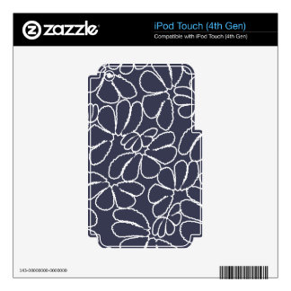 Navy Blue Whimsical Ikat Floral Doodle Pattern iPod Touch 4G Decals