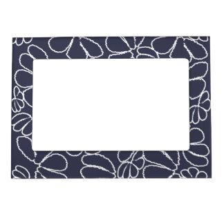 Navy Blue Whimsical Ikat Floral Doodle Pattern Magnetic Frame