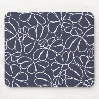 Navy Blue Whimsical Ikat Floral Doodle Pattern Mouse Pad