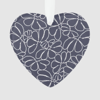 Navy Blue Whimsical Ikat Floral Doodle Pattern Ornament
