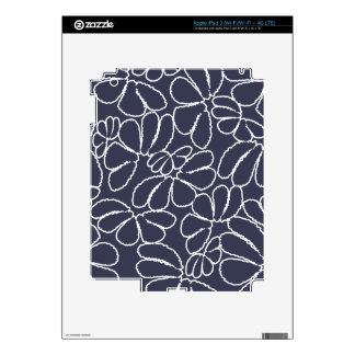 Navy Blue Whimsical Ikat Floral Doodle Pattern Skin For iPad 3