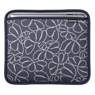 Navy Blue Whimsical Ikat Floral Doodle Pattern Sleeves For iPads