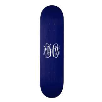Navy Blue White 3 Initials Vine Script Monogram Skate Decks
