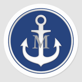 Navy Blue White Anchor Monogrammed Sticker