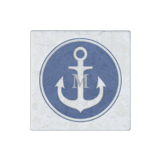 Navy Blue White Anchor Monogrammed Stone Magnet
