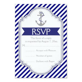 Navy blue, white anchor nautical wedding RSVP Card