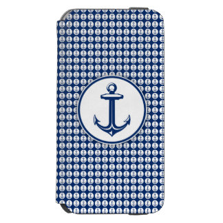 Navy Blue White Anchor on Anchor Pattern iPhone 6/6s Wallet Case