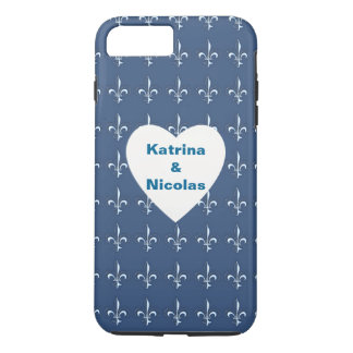 Navy Blue White Anchors Heart Pattern Monogram iPhone 8 Plus/7 Plus Case