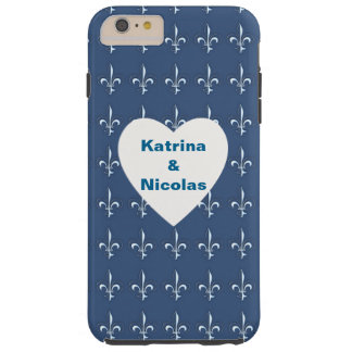 Navy Blue White Anchors Heart Pattern Monogram Tough iPhone 6 Plus Case