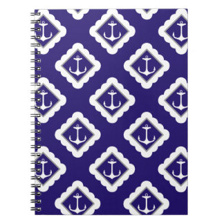 Navy Blue White Anchors Nautical Pattern Notebook