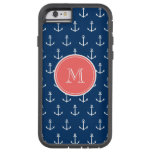 Navy Blue White Anchors Pattern, Coral Monogram 2 Tough Xtreme iPhone 6 Case