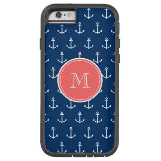 Navy Blue White Anchors Pattern, Coral Monogram 2 Tough Xtreme iPhone 6 Case