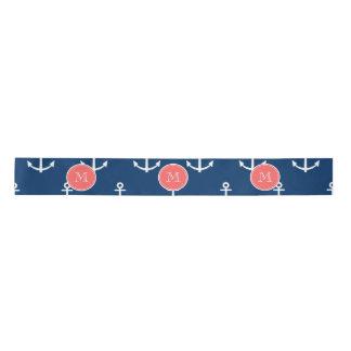Navy Blue White Anchors Pattern, Coral Monogram 2 Satin Ribbon