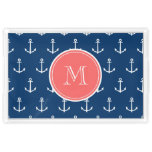 Navy Blue White Anchors Pattern, Coral Monogram Acrylic Tray