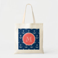 Navy Blue White Anchors Pattern, Coral Monogram Budget Tote Bag