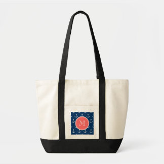 Navy Blue White Anchors Pattern, Coral Monogram Tote Bags