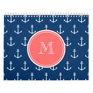 Navy Blue White Anchors Pattern, Coral Monogram Wall Calendars