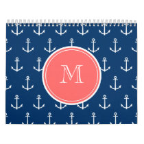 Navy Blue White Anchors Pattern, Coral Monogram Calendar