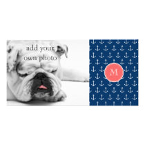 Navy Blue White Anchors Pattern, Coral Monogram Card