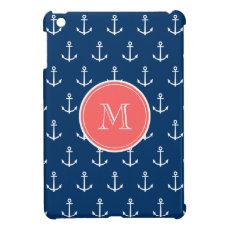 Navy Blue White Anchors Pattern, Coral Monogram Case For The iPad Mini