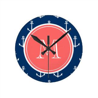 Navy Blue White Anchors Pattern, Coral Monogram Clocks