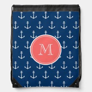 Navy Blue White Anchors Pattern, Coral Monogram Drawstring Bag