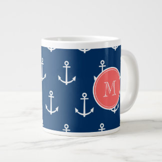 Navy Blue White Anchors Pattern, Coral Monogram Giant Coffee Mug