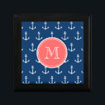"""Navy Blue White Anchors Pattern, Coral Monogram Gift Box<br><div class=""""desc"""">A preppy, nautical, navy blue and white anchor pattern with your initial in a modern font, on a coral circle label, banner, frame with white circular lines border. GraphicsByMimi&#169; Trendy, stylish, modern, cute anchors pattern you can personalize with your monogram for her. Use the template field to add your monogram...</div>"""
