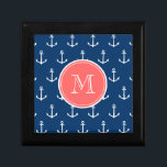 "Navy Blue White Anchors Pattern, Coral Monogram Gift Box<br><div class=""desc"">A preppy, nautical, navy blue and white anchor pattern with your initial in a modern font, on a coral circle label, banner, frame with white circular lines border. GraphicsByMimi&#169; Trendy, stylish, modern, cute anchors pattern you can personalize with your monogram for her. Use the template field to add your monogram...</div>"