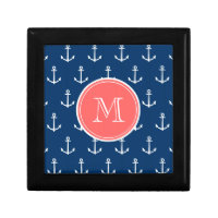 Navy Blue White Anchors Pattern, Coral Monogram Gift Box
