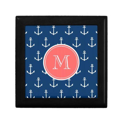 Navy Blue White Anchors Pattern, Coral Monogram Keepsake Boxes