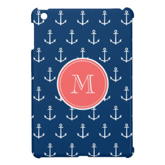 Navy Blue White Anchors Pattern, Coral Monogram iPad Mini Cases