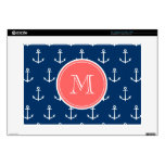 Navy Blue White Anchors Pattern, Coral Monogram Laptop Skins