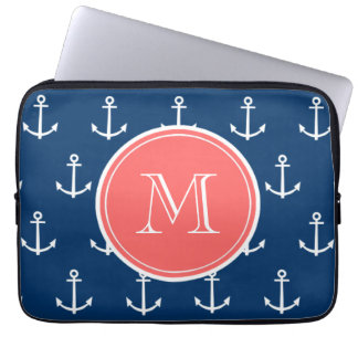 Navy Blue White Anchors Pattern, Coral Monogram Laptop Sleeve