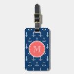 Navy Blue White Anchors Pattern, Coral Monogram Travel Bag Tag
