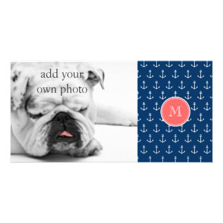 Navy Blue White Anchors Pattern, Coral Monogram Photo Card