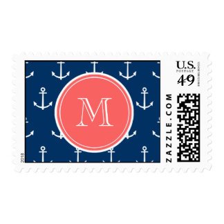 Navy Blue White Anchors Pattern, Coral Monogram Postage