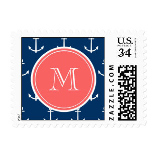 Navy Blue White Anchors Pattern, Coral Monogram Stamp