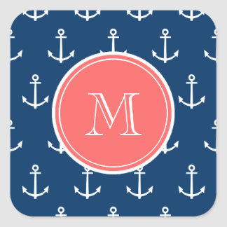 Navy Blue White Anchors Pattern, Coral Monogram Square Sticker