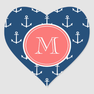 Navy Blue White Anchors Pattern, Coral Monogram Stickers
